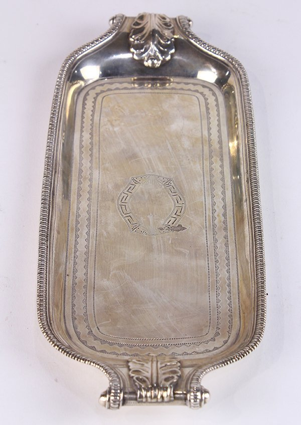 British George III sterling silver pen tray, bearing - 2