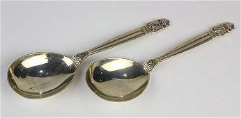 "(lot of 2) Danish Georg Jensen sterling silver ""Acorn"""