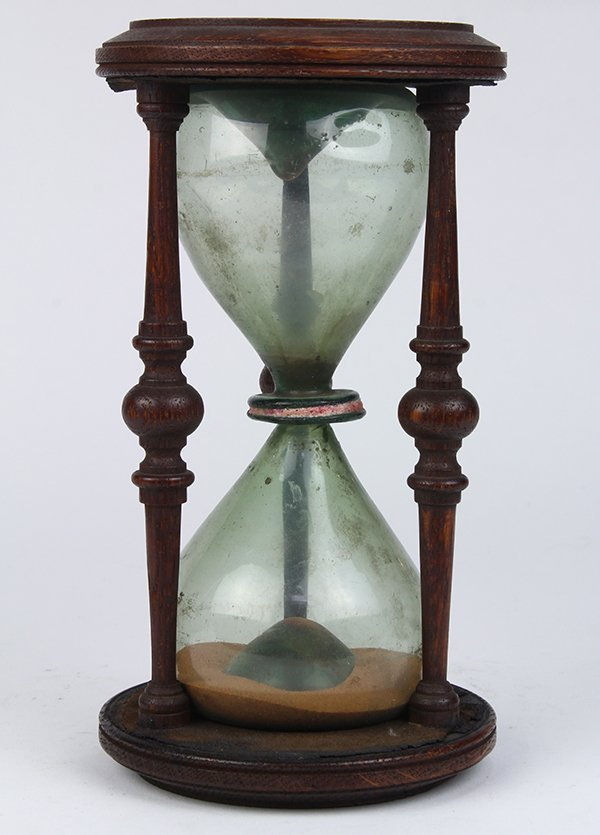 Victorian carved wood and blown glass hourglass, 19th