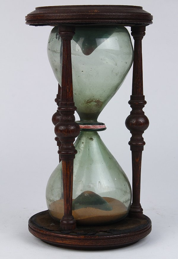 Victorian carved wood and blown glass hourglass, 19th - 2