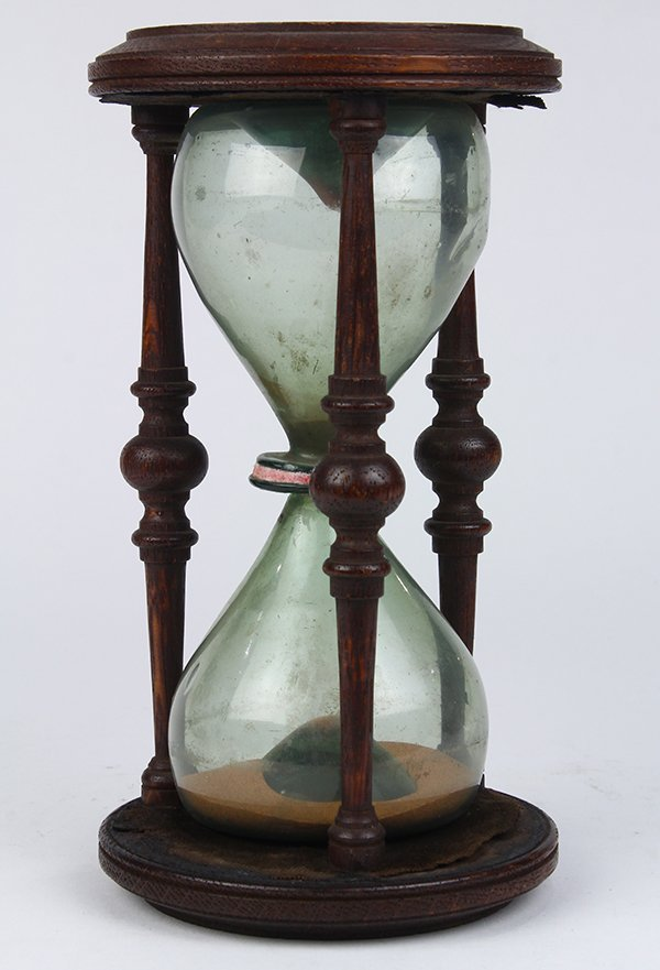 Victorian carved wood and blown glass hourglass, 19th - 3