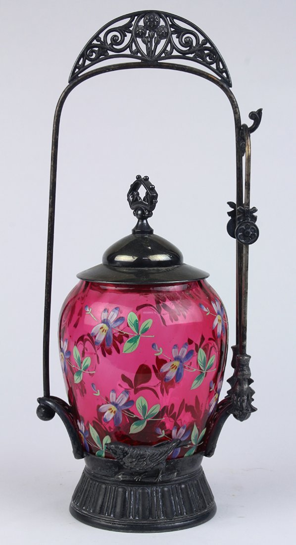 Aesthetic movement silverplate pickle jar, having a