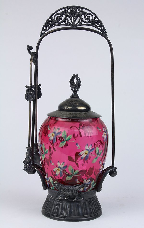 Aesthetic movement silverplate pickle jar, having a - 3