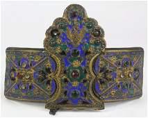 Russian giltmetal filigree and enamel belt buckle