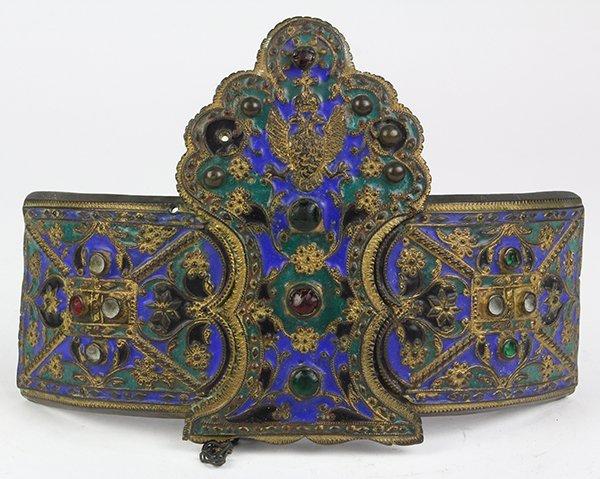 Russian gilt-metal, filigree and enamel belt buckle,