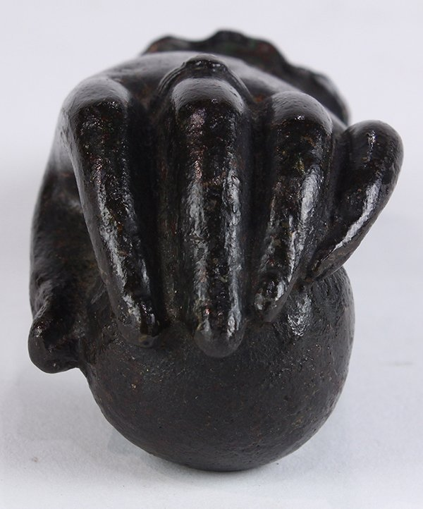 "Cast iron hand form door knocker, 7""l - 2"