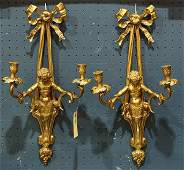 Pair of NeoClassical style bronze twolight figural
