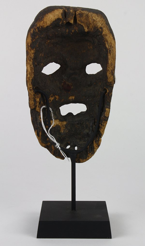 Small old wood mask, possibly Mexican, probably 19th - 3