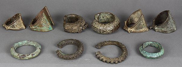 (lot of 10) East and West African currency bangles and - 2