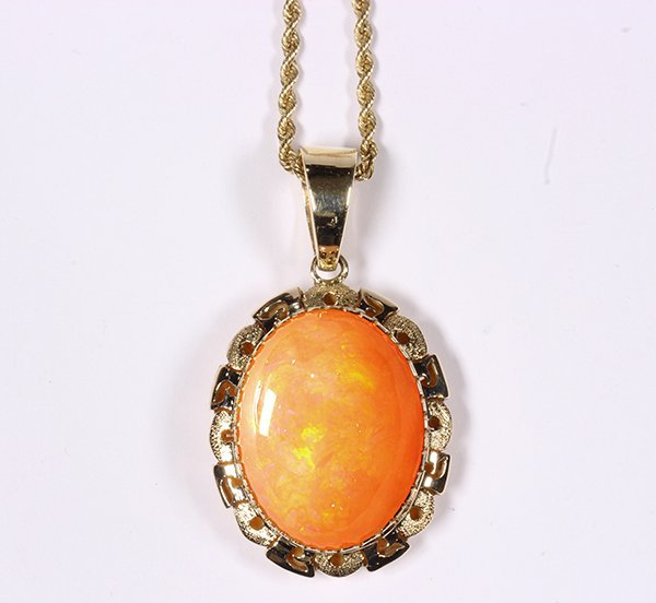 Fire opal and 14k yellow gold pendant-necklace