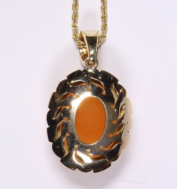 Fire opal and 14k yellow gold pendant-necklace - 2