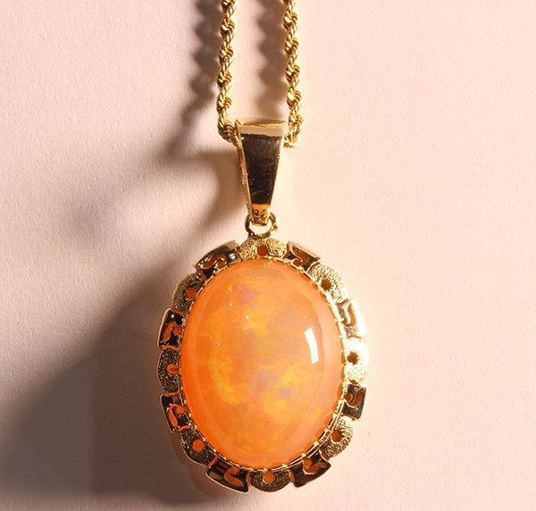 Fire opal and 14k yellow gold pendant-necklace - 4