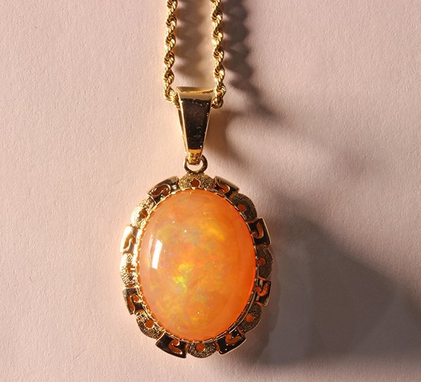 Fire opal and 14k yellow gold pendant-necklace - 5