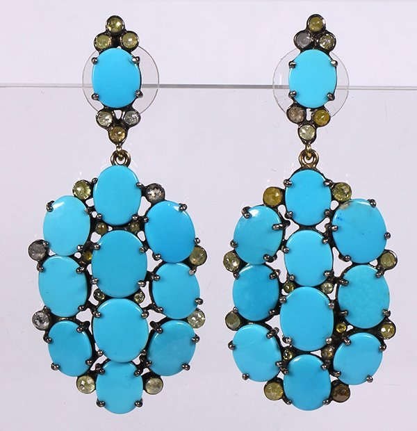 Pair of turquoise, diamond and sterling silver