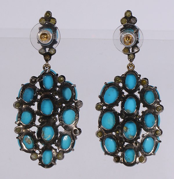 Pair of turquoise, diamond and sterling silver - 2