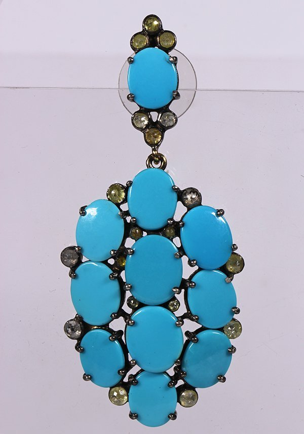 Pair of turquoise, diamond and sterling silver - 3