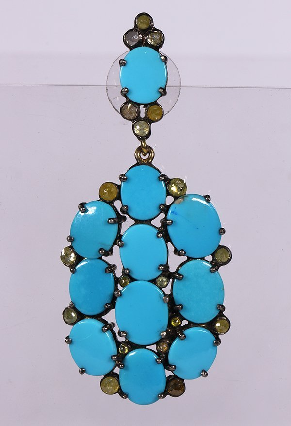 Pair of turquoise, diamond and sterling silver - 4