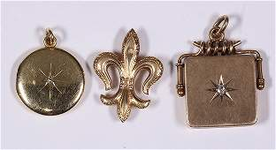 Lot of 3 Victorian diamond and yellow gold jewelry