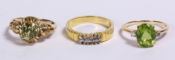 (lot of 3) Multistone, diamond, and 14k yellow gold