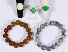 Collection of gemstone and 18k yellow gold jewelry