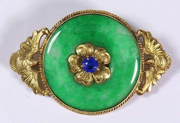 18k yellow gold, synthetic sapphire and jadeite brooch