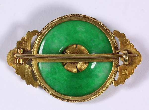 18k yellow gold, synthetic sapphire and jadeite brooch - 2