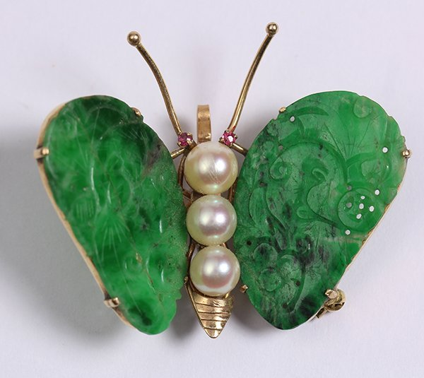 Jadeite, cultured pearl, ruby and 14k yellow gold