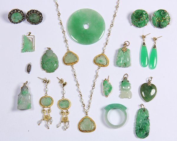 (Lot of 16) Jade, gold and metal jewelry