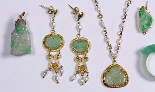 (Lot of 16) Jade, gold and metal jewelry - 2