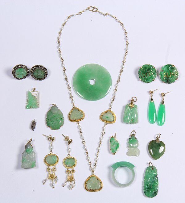 (Lot of 16) Jade, gold and metal jewelry - 3