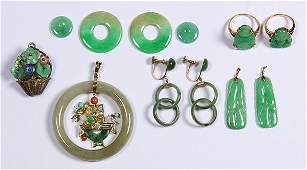 Collection of jade, 14k yellow gold and silver jewelry