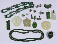 Collection of jade gem yellow gold and silver jewelry