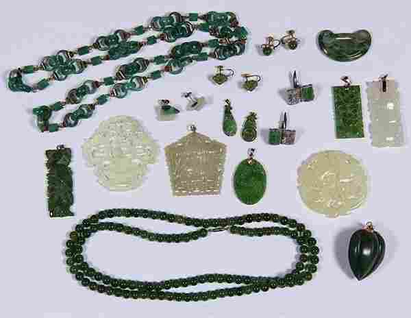 Collection of jade, gem, yellow gold and silver jewelry