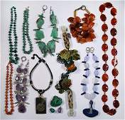 Lot of 13 Multi stone bead necklaces and malachite