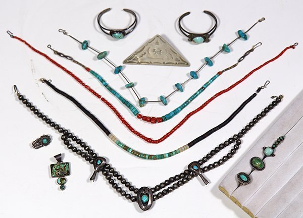 (Lot of 14) Turquoise, silver and metal Native American