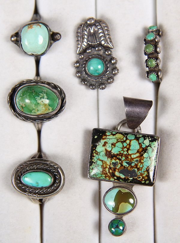 (Lot of 14) Turquoise, silver and metal Native American - 2