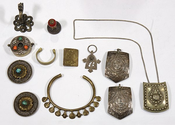 (Lot of 12) Multi-stone, silver and metal items