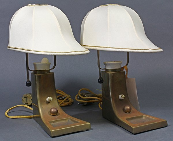 Pair of Art Deco brass lamps