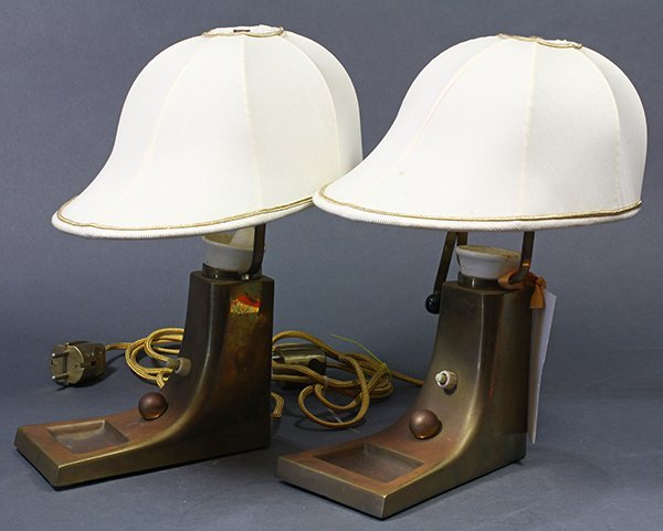 Pair of Art Deco brass lamps - 2