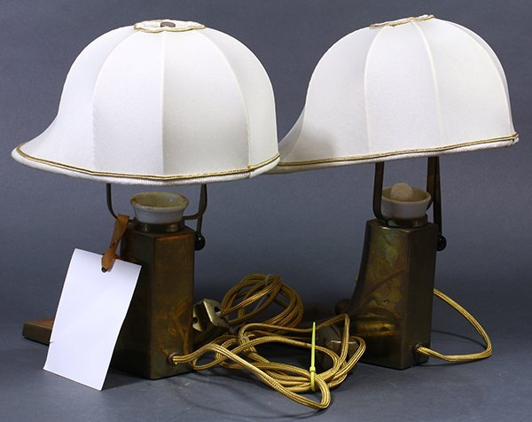 Pair of Art Deco brass lamps - 3