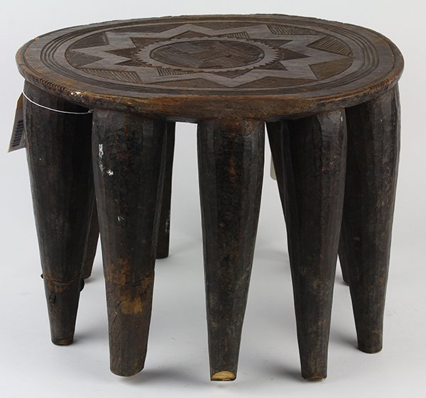 Nupe People, Nigeria wood stool, the round seat carved