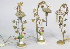 6169 Italian Brass Boudoir Lamps