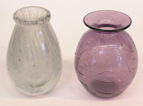 4000: Two art glass vases one Burlin