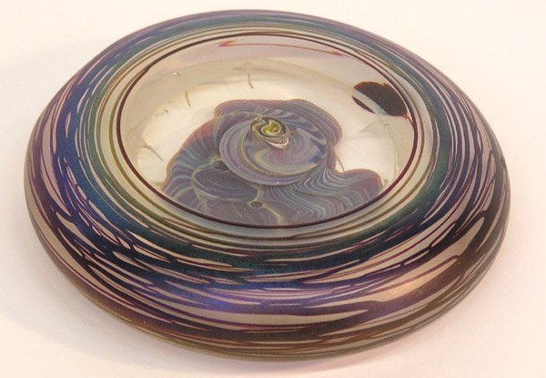 4002: Art glass disk signed H.S. 1989