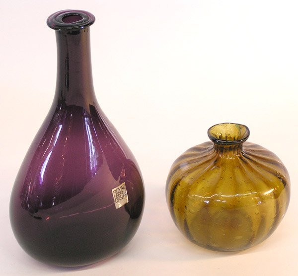 4014: 2 hand blown bottles