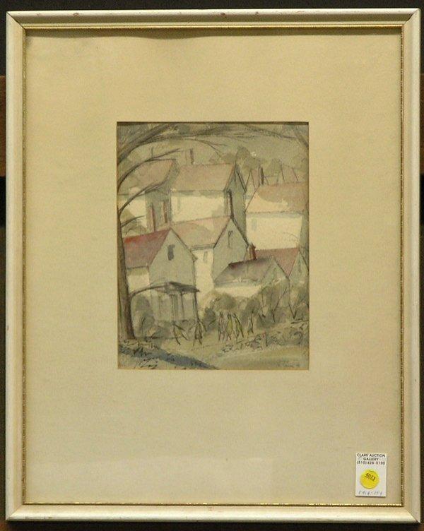 4023: Watercolor, A. Simms, landscape
