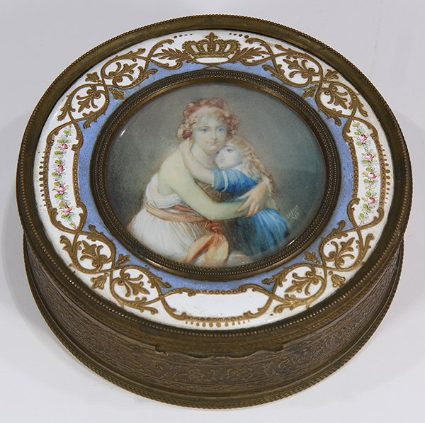 French raised gilt and enamel decorated dresser box
