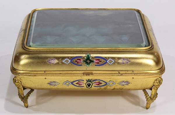 Continental gilt and champleve decorated jewelry casket