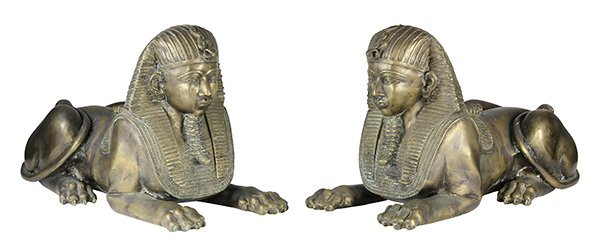 Egyptian Revival style patinated metal sphinxes