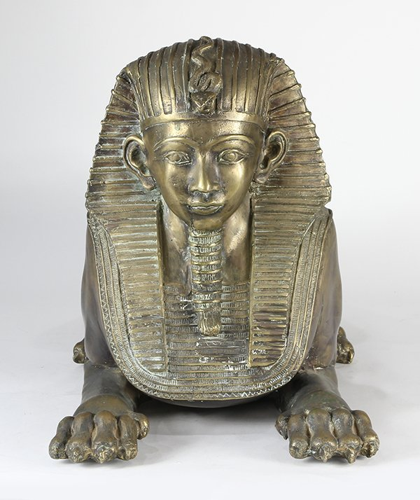 Egyptian Revival style patinated metal sphinxes - 3